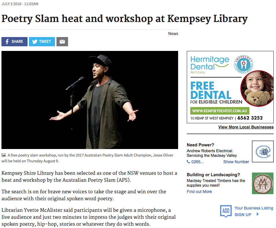 Australian Poetry Slam Kempsey Heat
