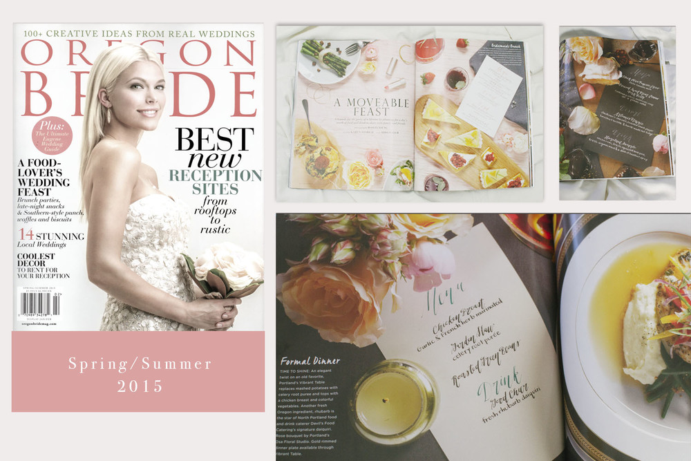 My calligraphy was featured in a six-page spread in  Oregon Bride  magazine.