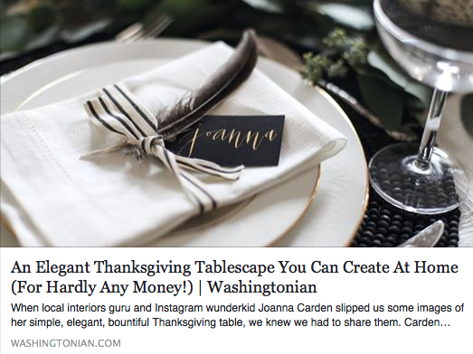 My gift tags were used to create an affordable Thanksgiving tablescape on Washingtonian Magazine's blog.