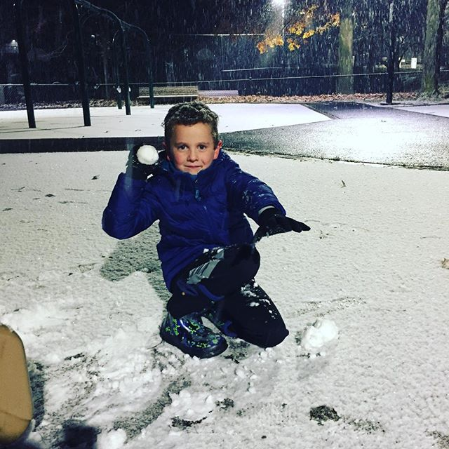 First snow in Boston last night and yes we absolutely did go out at bedtime to play in it! #welovesnow