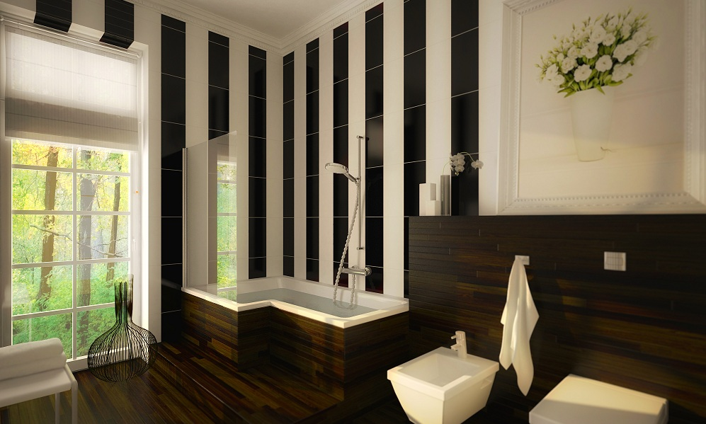 Interior 3D Rendering of a modern bathroom