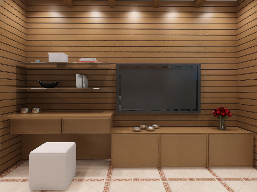Turtle Cove - 3D Interior Rendering of Suite Entertainment Center
