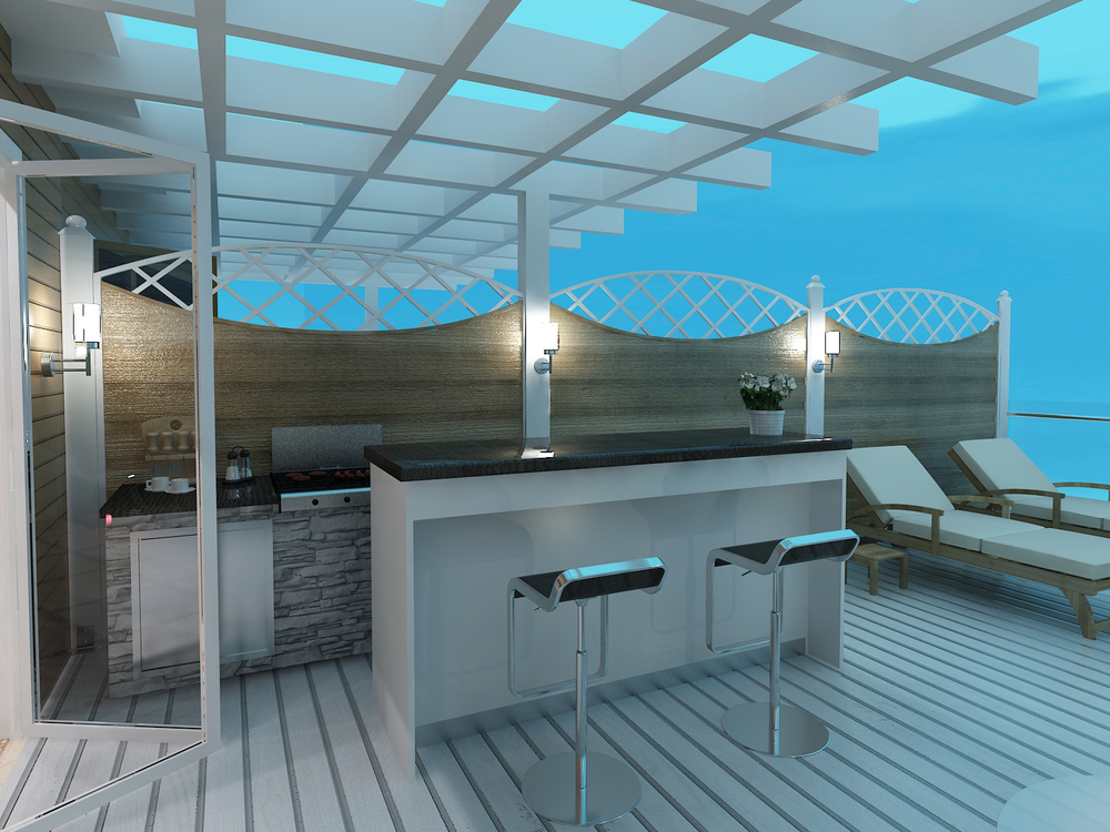 Turtle Cove - 3D Exterior Rendering of Patio and Bar