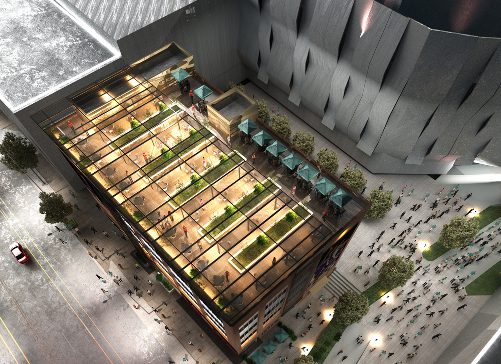 3D architectural rendering with aerial view - looking down on a building