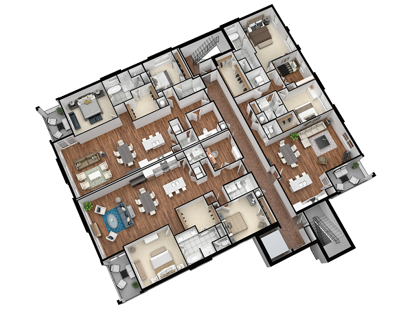 What your house might look like if you were a bird and it had no roof. Just kidding.. :)  3d floor plans  are a great way to know if how you are planning to lay out your house or new development is going to work.