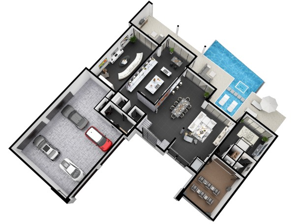 Told you we would have more amazing floorplan renderings on this list! We thought that the pool area plus that awesome garage made this floorplan really stand out. There's space for a couple more cars in the garage there!