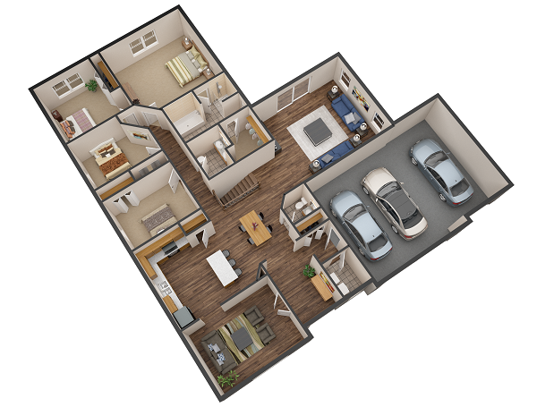 Our last floorplan rendering in this quarter's list. And it made it this far because of its beautiful color and balance. The realism in this rendering is awesome. This is the best way to showcase a house plan. Nothing can compete against these (well, maybe just a VR tour!).