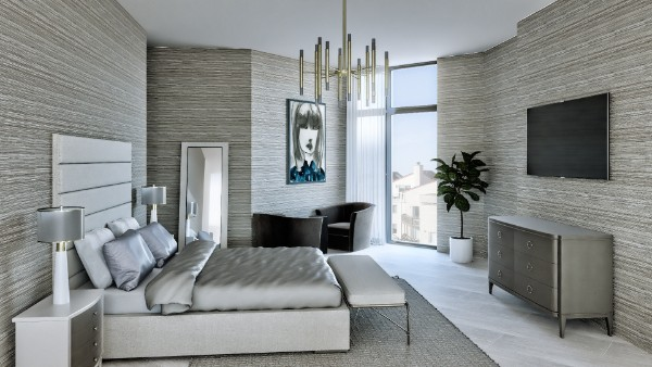 Now we get to our top 10 renderings for the quarter, and what a better way to start than this white bedroom, filled with gorgeous shapes and texture. Notice the great light distribution around the room and those satiny pillow covers and sheets.
