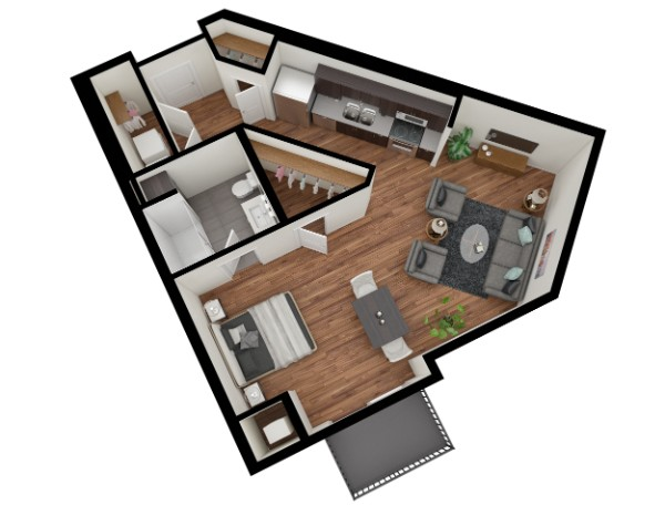 Floorplan renderings can be very simple, and at the same time conceptually stunning.