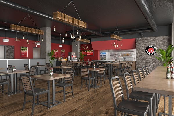 A 3D visualization of the interior design and layout of a restaurant