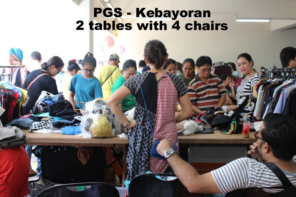 PGS - Kebayoran  2 tables with 4 chairs  You may bring 2 hanger racks and a few containers