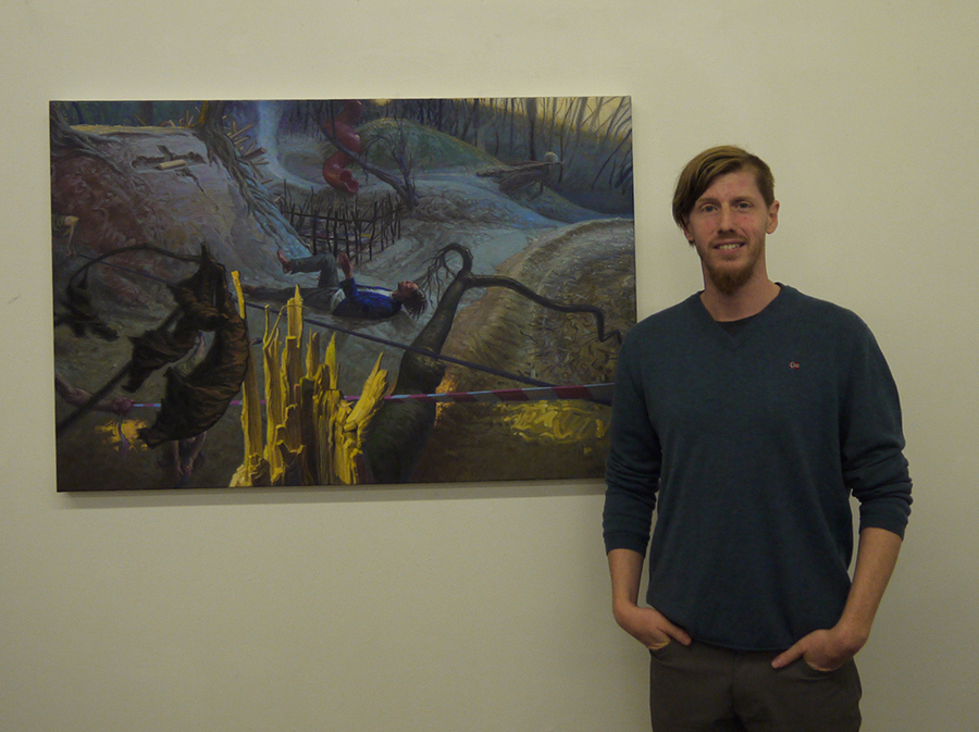 "Me with a recent painting at the LIA exhibition ""Affects on Absorption"""