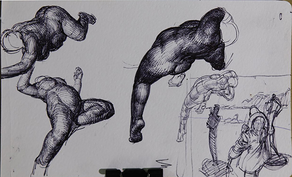 Initial small sketchbook ideas from imagination for the floating figures. The two on the left were used as final reference for the small figures at the top right of the painting