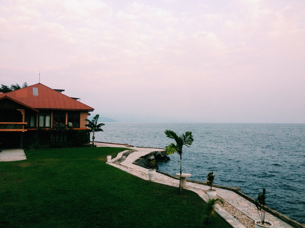 Our beautiful accommodation in Goma, looking over the vast volcanic lake 'Lake Kivu'.