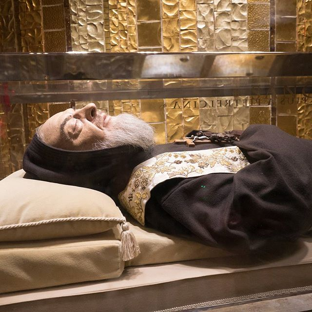 From our audience with Pope Francis, we travel four hours southeast from Rome to the town of Saint Padre Pio in San Giovanni Rotondo to visit his incorruptible body and ask for his prayers. #padrepio #napglenn2017 #MarianPilgrimage