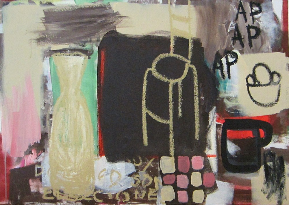Brown still life , 2014, acrylic and oil stick on canvas, 70x94cm