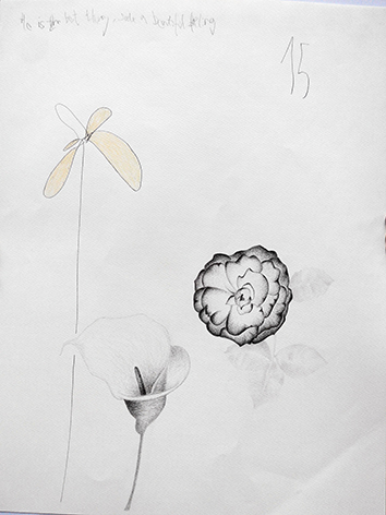 Flower and things II , 2015, mixed media on paper, 65x50cm