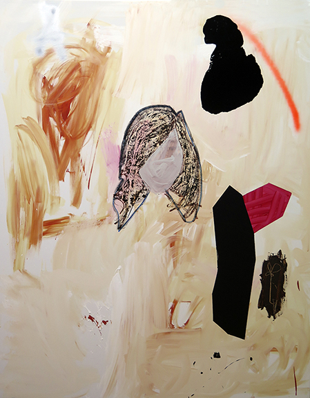 Girl and other things on burnt umber , 2016, mixed media on canvas, 146x114cm