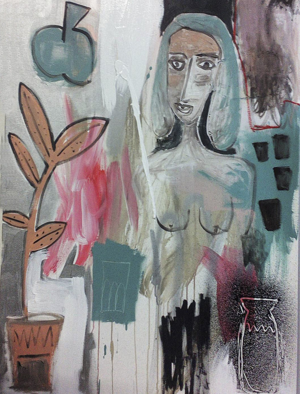 That girl surrounded by things , 2016, mixed media on canvas, 105x80cm