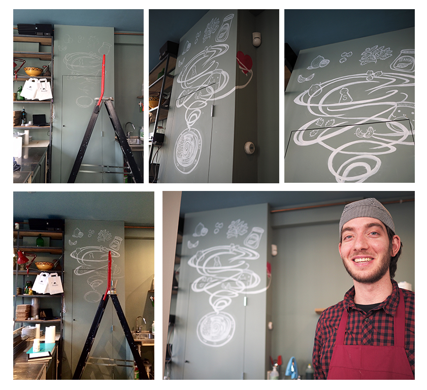 Wall art made for Sir Hummus Amsterdam