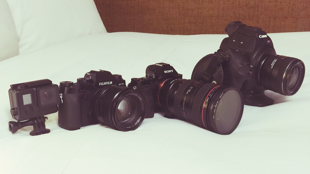 The new line up on this trip. The GoPro 4, Fuji XT1, Sony A7S and Canon C100