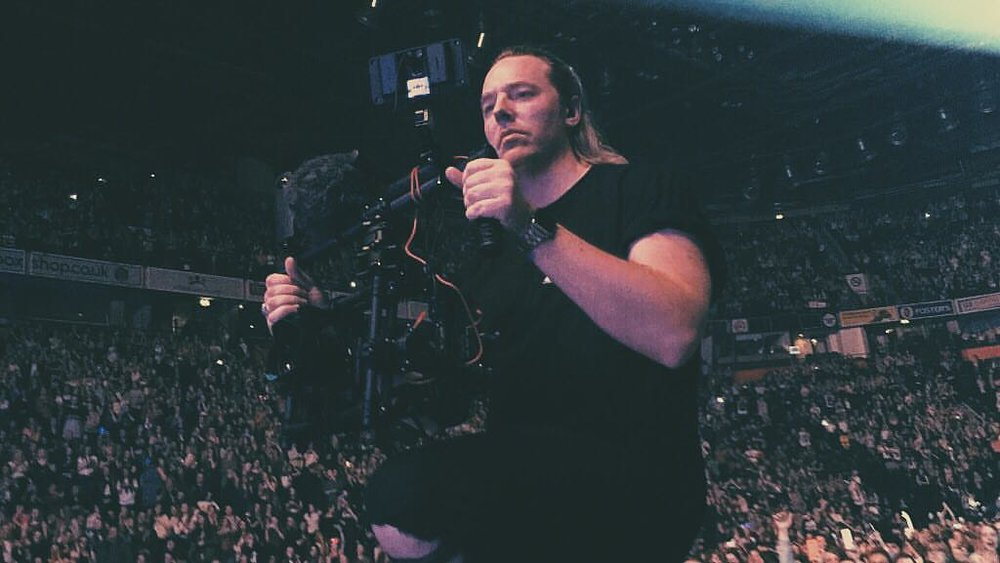 On stage at Manchester Arena filming for The Vamps. Thanks to the fan who took the pic!