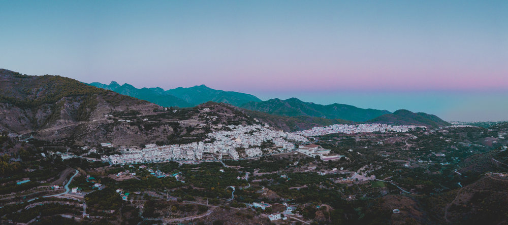 Mavic Pro aerial panorama of Frigiliana, Spain.