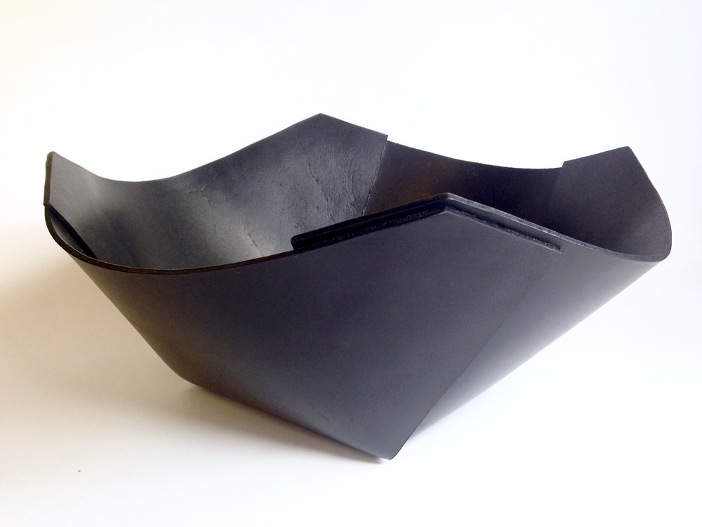 Folded leather bowl