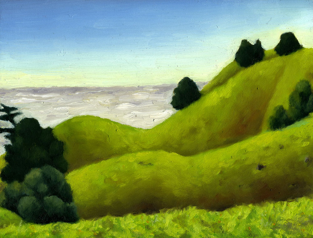 "Bolinas Ridge Spring  Oil on panel 6"" x 8 2015"