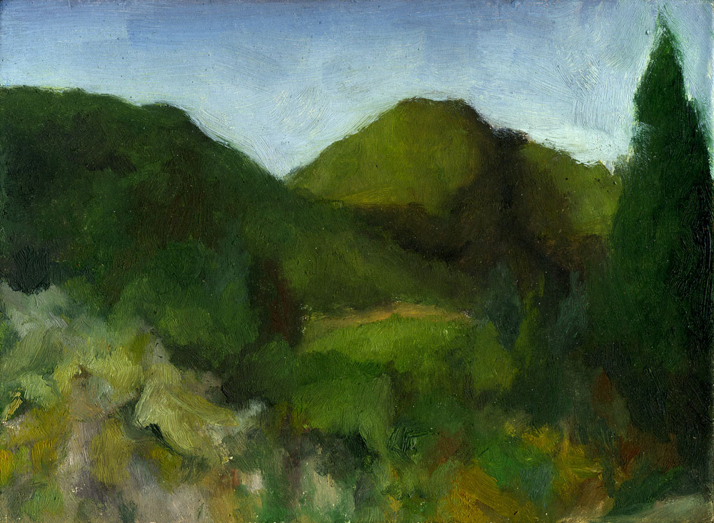 "Old Railroad Grade  Oil on panel 2.5"" x 3.5"" 2015"