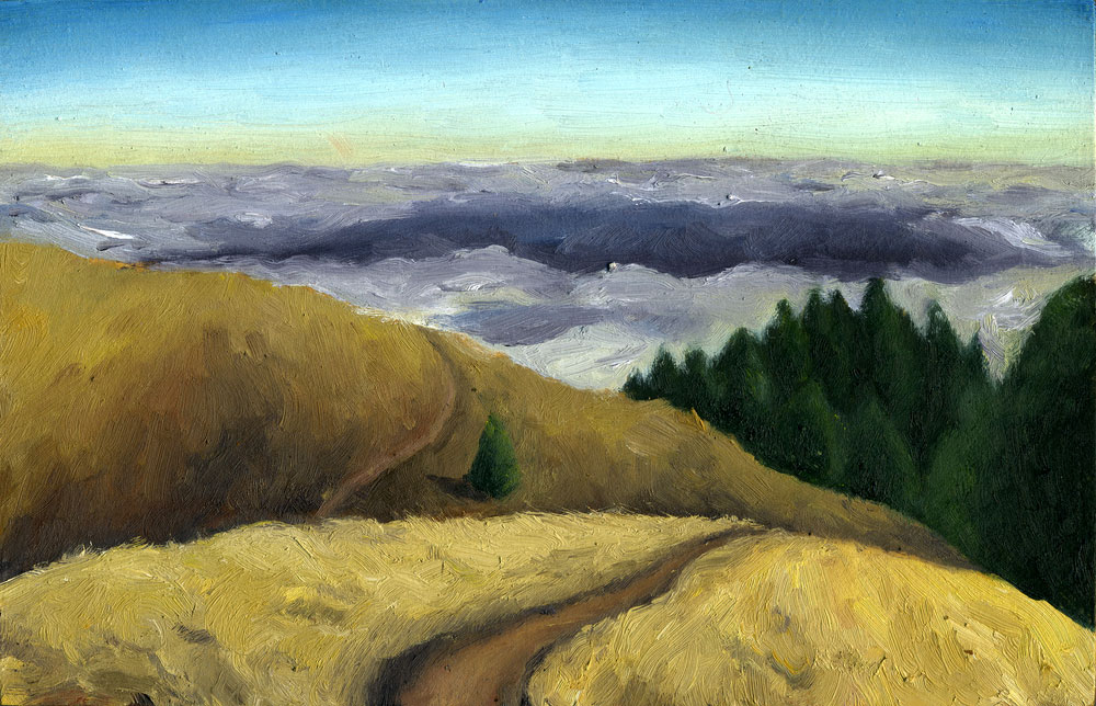 "Bolinas Ridge Summer  Oil on panel  2.5"" x 3.5"" 2014"