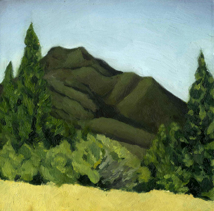 "Mt. Tam from Old Mine Trail #2  Oil on panel 7"" x 7"" 2014"