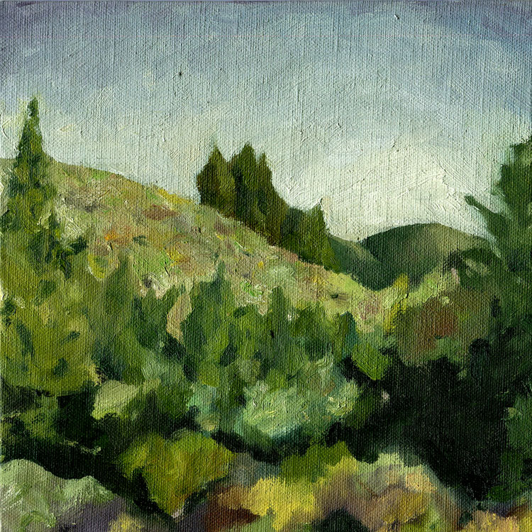 "Myrtl Trail Secret Spot  Oil on canvas 8"" x 8"" 2013"