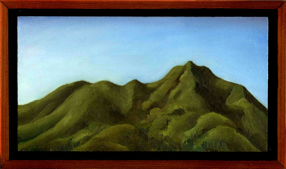 "Mt. Tamalpais from Tamalpais Ave Rooftop #2  Oil on panel 4.5"" x 8"" 2012"