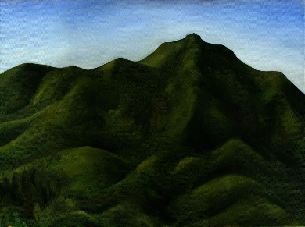 "Mt. Tamalpais from Tamalpais Ave Rooftop #1  Oil on canvas 18"" x 24"" 2012"