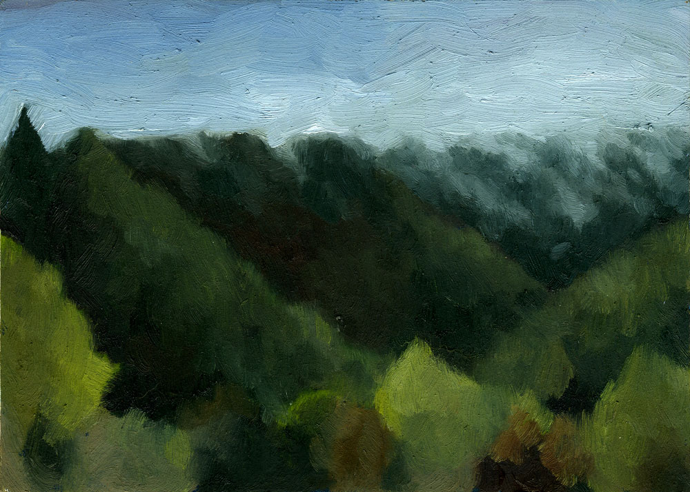 "Fog Rolling In   Oil on panel 7"" x 5"" 2011"