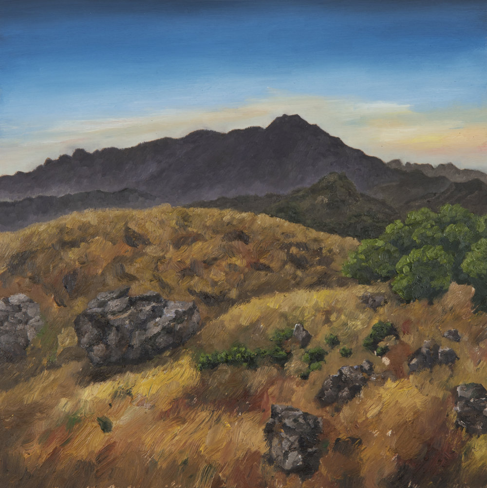 "Mt. Tamalpais from Ring Mountain  Oil on panel 18"" x 18"" 2018"