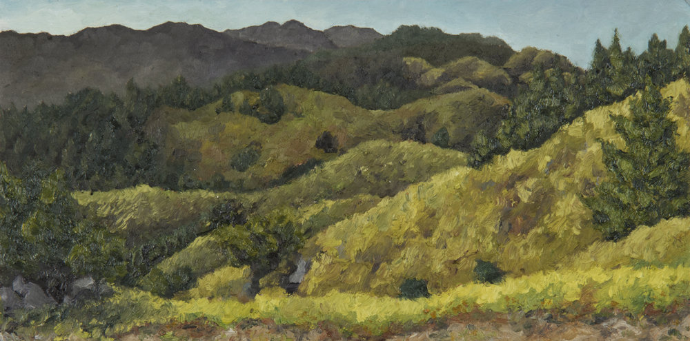 "Bolinas Ridge  Oil on panel 6"" x 12"" 2018"