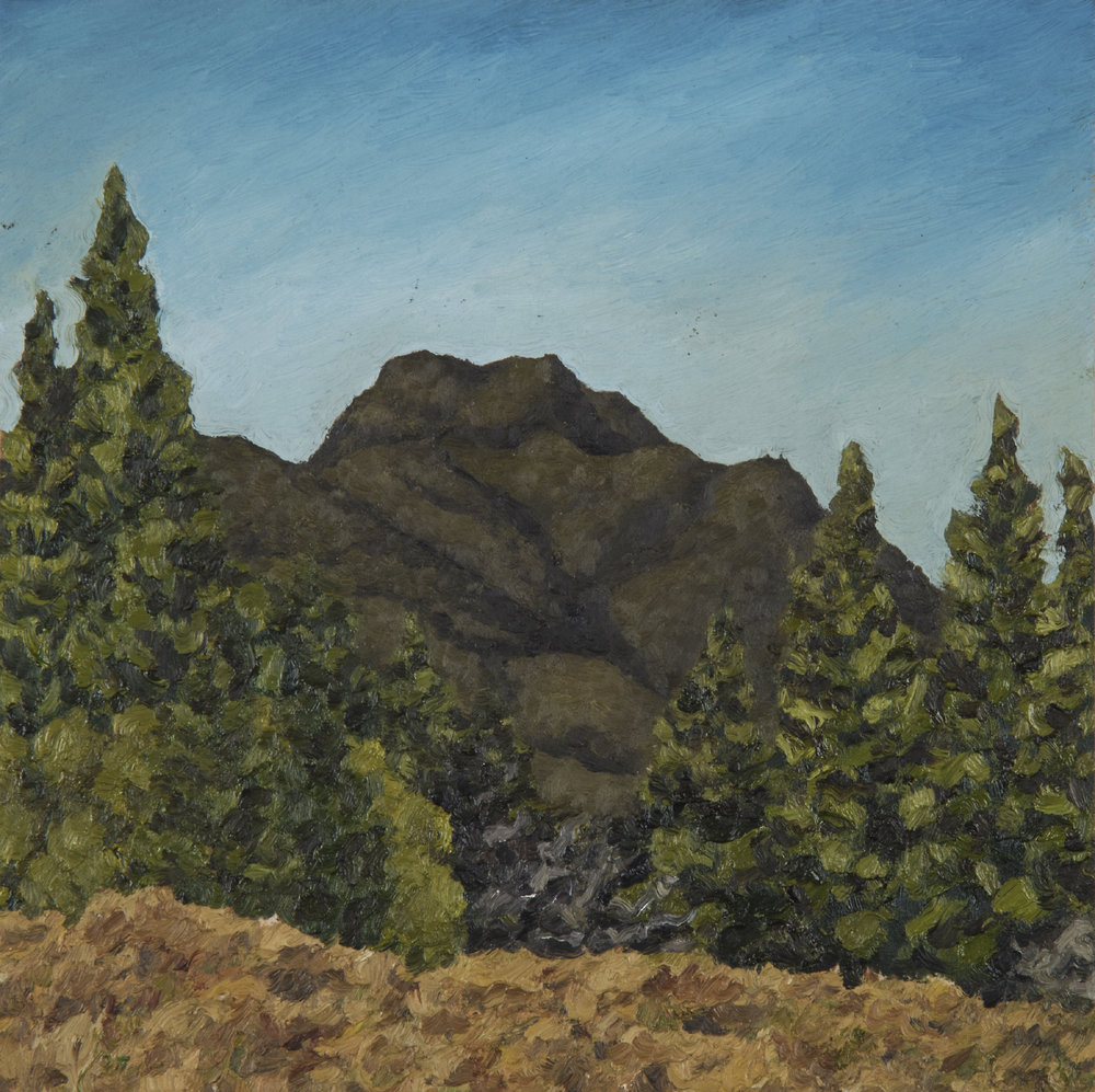 "Mt. Tamalpais from Old Mine Trail  Oil on panel 8"" x 8"" 2018"