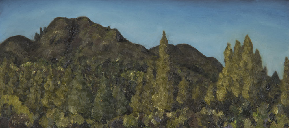 "Mt. Tamalpais from Old Railroad Grade #1  Oil on panel 5"" x 11"" 2018"