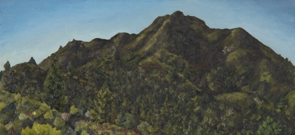 "Mt. Tamalpais from Old Railroad Grade #2  Oil on panel 7"" x 15"" 2018"