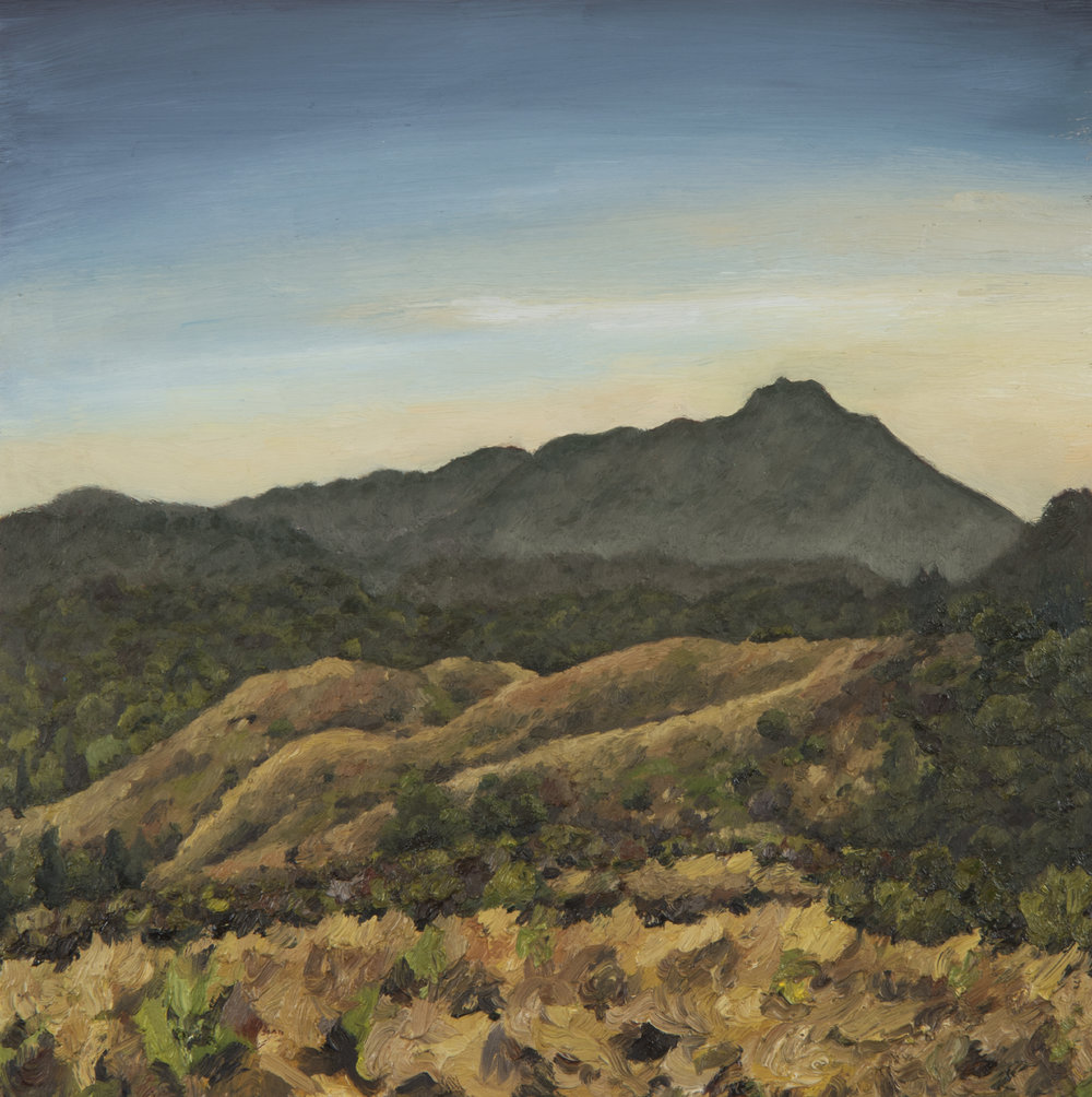 "Mt. Tamalpais from Tiburon Ridge  Oil on panel 12"" x 12"" 2018"
