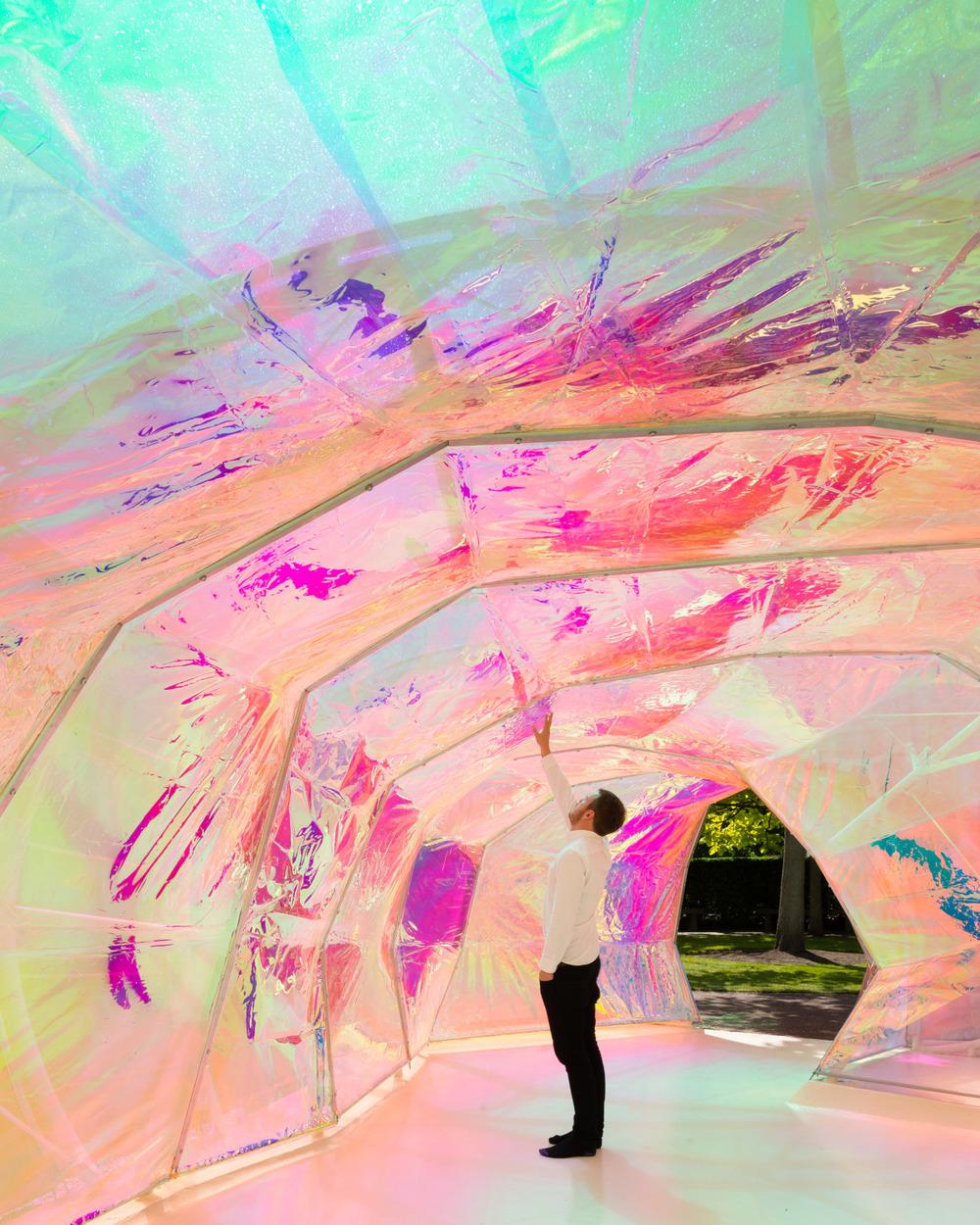 Inside the Serpentine Pavilion designed by selgascano