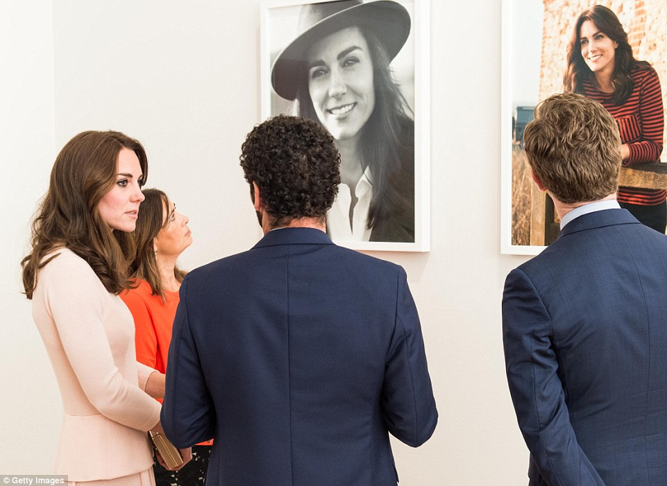The Duchess of Cambridge views her portraits at the National Portrait Gallery