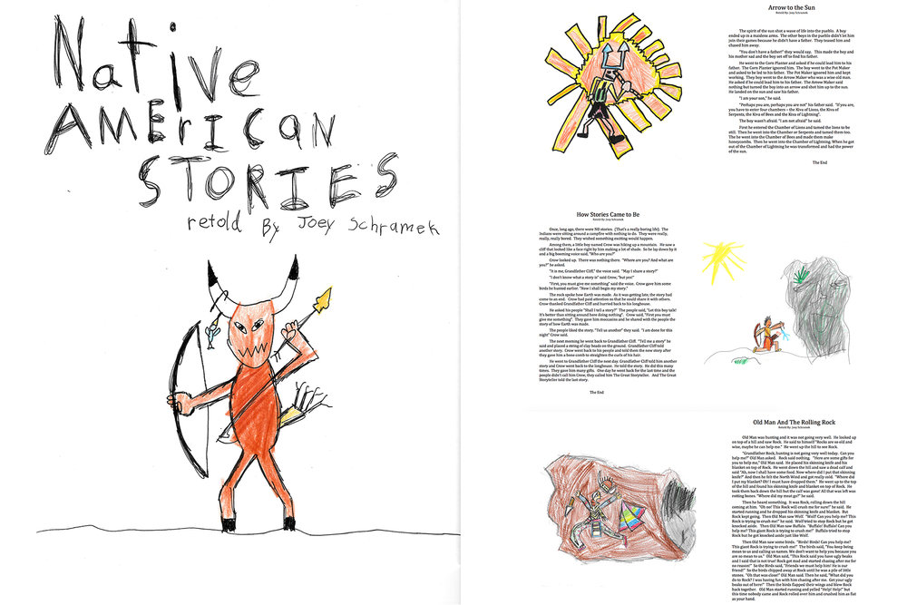 Cover page and a few inside pages from our main writing project this semester from Bravewriter's Jot It Down program. He read each story and drew a picture to represent that story. He then narrated the story to me and I typed it out as he told me.