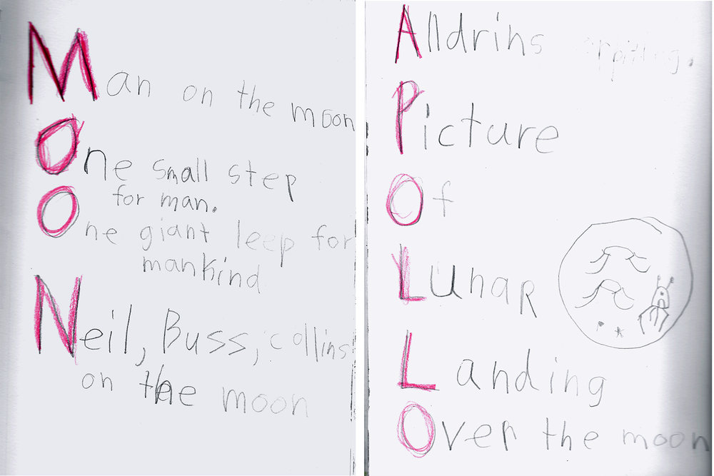Acrostic poems about the lunar landing