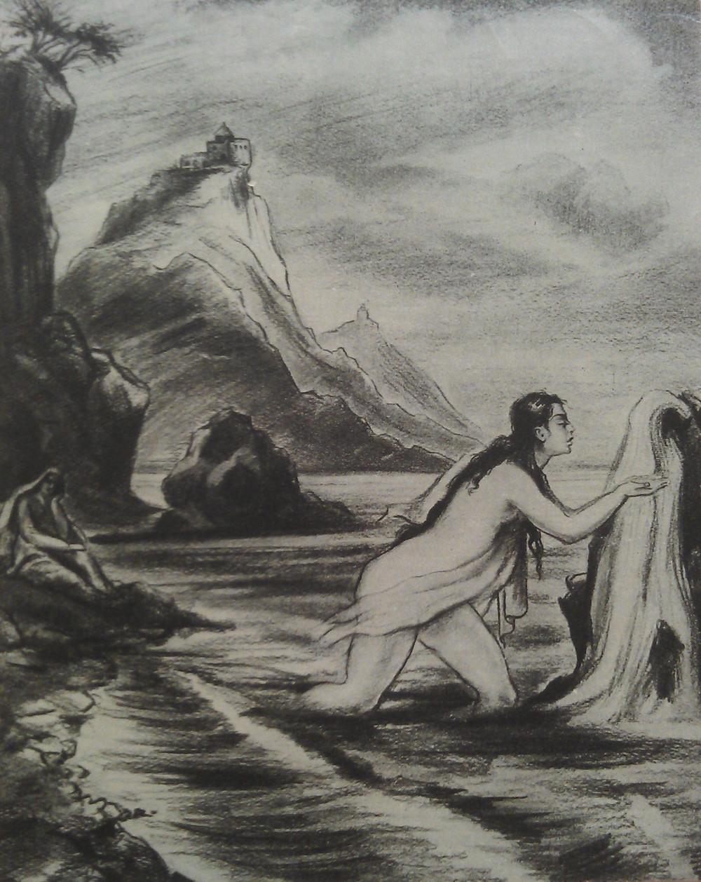 МгерАбегян- Цовинар, пьющая воду