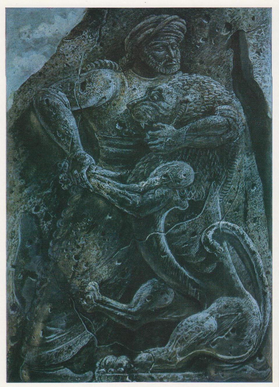 Е.С. Кочар Раздирающий льва Мгер. Иллюстрация к армянскому народному эпосу «Давид Сасунский». 1939
