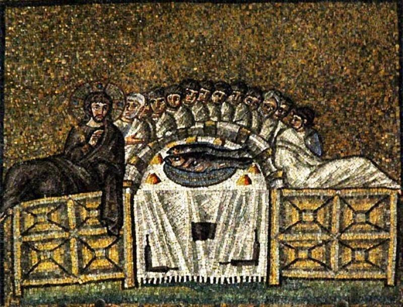 Тайная вечеря. Древнехристианская мозаика.