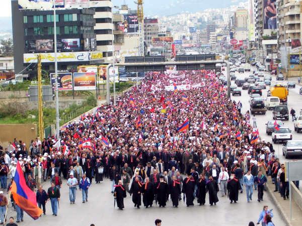 10 000 армян Ливана на мероприятии, посвященном памяти и поддержке признания Геноцида Армян в Османской Турции